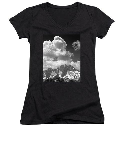 304638 Clouds Over Mt. Stuart Bw Women's V-Neck