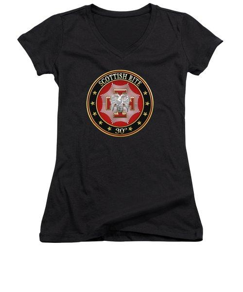 30th Degree - Knight Kadosh Jewel On Black Leather Women's V-Neck T-Shirt (Junior Cut)