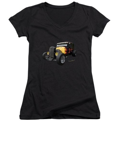 31 Model A Ford Fiery Watercolour Women's V-Neck (Athletic Fit)