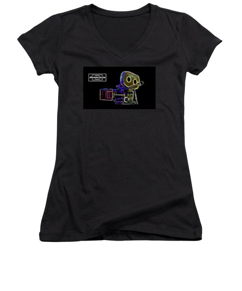 Women's V-Neck T-Shirt featuring the digital art 35mm Panavision by Aaron Berg