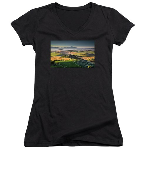 A Morning In Tuscany Women's V-Neck T-Shirt