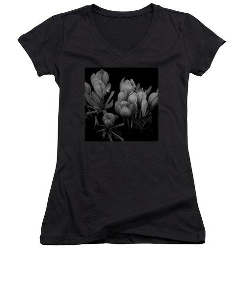 Black And White Flower  Women's V-Neck (Athletic Fit)