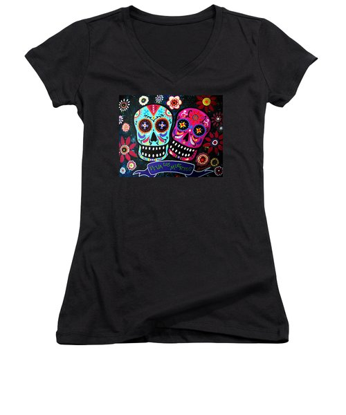 Couple Day Of The Dead Women's V-Neck T-Shirt (Junior Cut)
