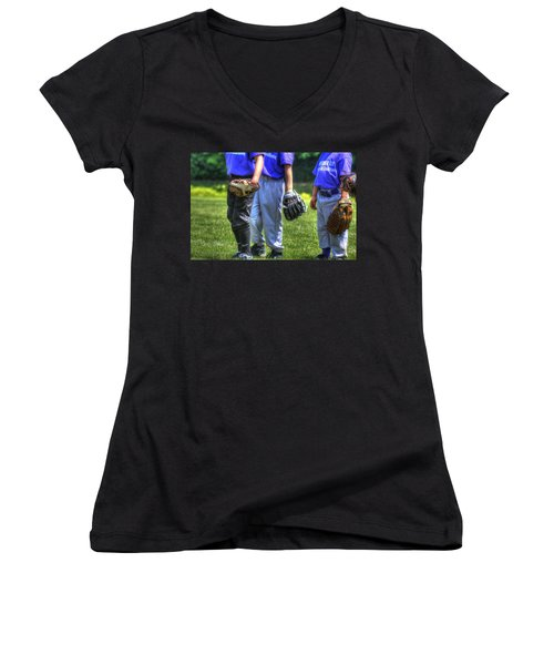 4 Gloves 1594 Women's V-Neck T-Shirt (Junior Cut) by Jerry Sodorff