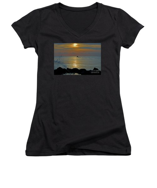 Women's V-Neck T-Shirt (Junior Cut) featuring the photograph 4- Into The Day by Joseph Keane