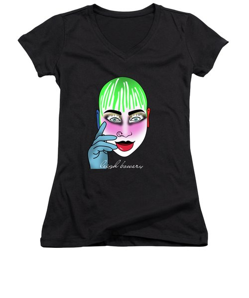 Leigh Bowery Women's V-Neck T-Shirt (Junior Cut) by Mark Ashkenazi