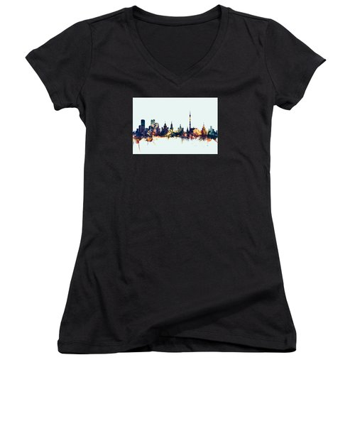 Moscow Russia Skyline Women's V-Neck T-Shirt (Junior Cut) by Michael Tompsett