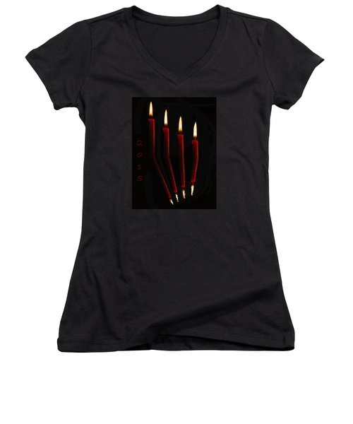 4 Reflected Candles Women's V-Neck
