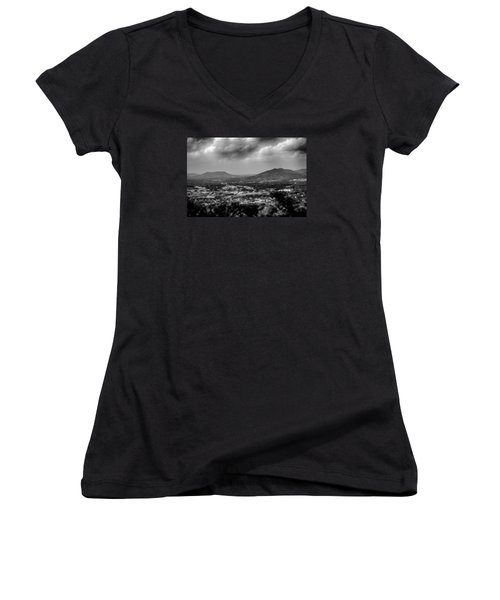 Roanoke City As Seen From Mill Mountain Star At Dusk In Virginia Women's V-Neck T-Shirt (Junior Cut) by Alex Grichenko