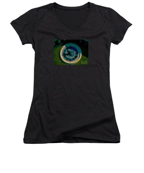Women's V-Neck T-Shirt (Junior Cut) featuring the photograph Sauer Clock by Melissa Messick