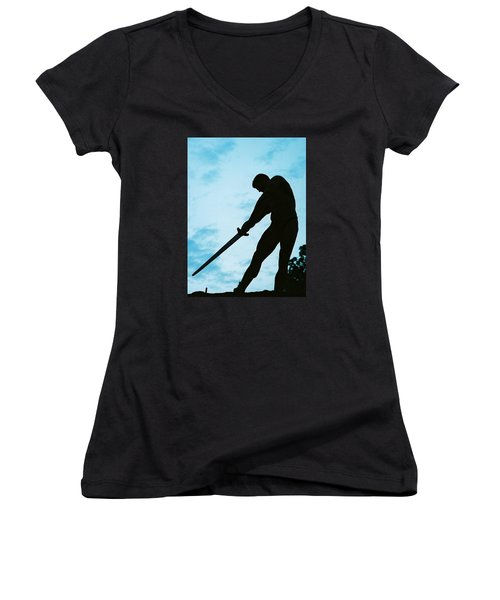 Women's V-Neck T-Shirt (Junior Cut) featuring the photograph The Gladiator by Jake Hartz