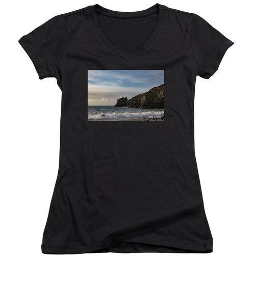 Women's V-Neck T-Shirt (Junior Cut) featuring the photograph Trevellas Cove Cornwall by Brian Roscorla