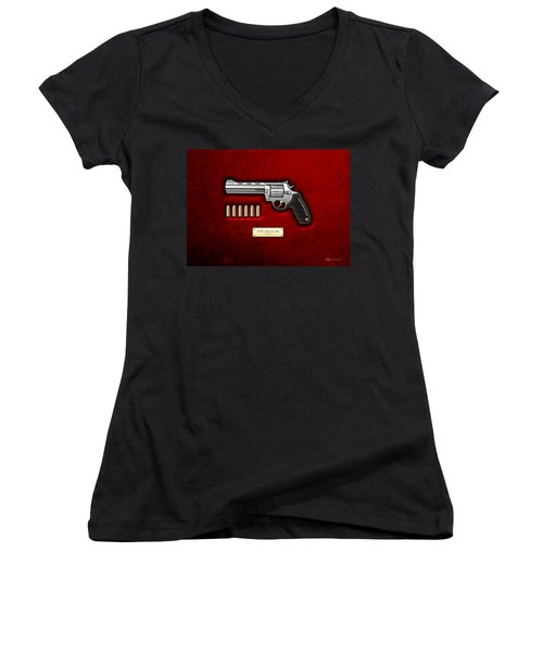.44 Magnum Colt Anaconda On Red Velvet  Women's V-Neck T-Shirt (Junior Cut) by Serge Averbukh