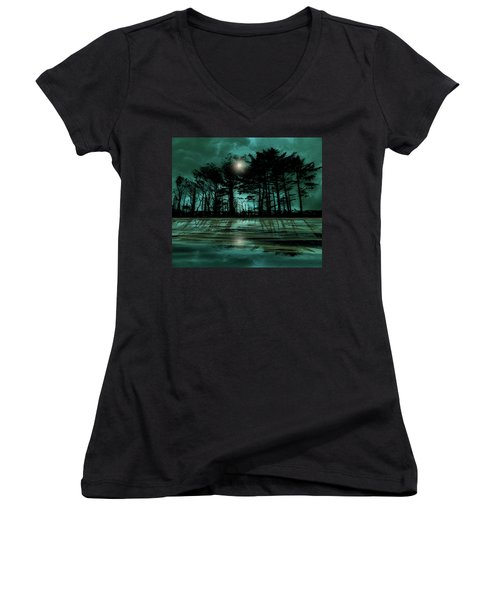 Women's V-Neck T-Shirt featuring the photograph 4466 by Peter Holme III