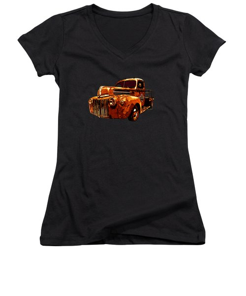 46 Ford Flatbed Redux From The Laboratories At Vivachas Women's V-Neck (Athletic Fit)