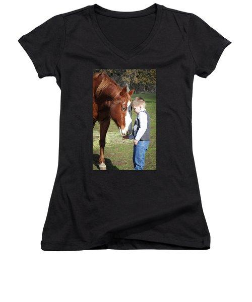 47 Women's V-Neck T-Shirt (Junior Cut) by Diane Bohna
