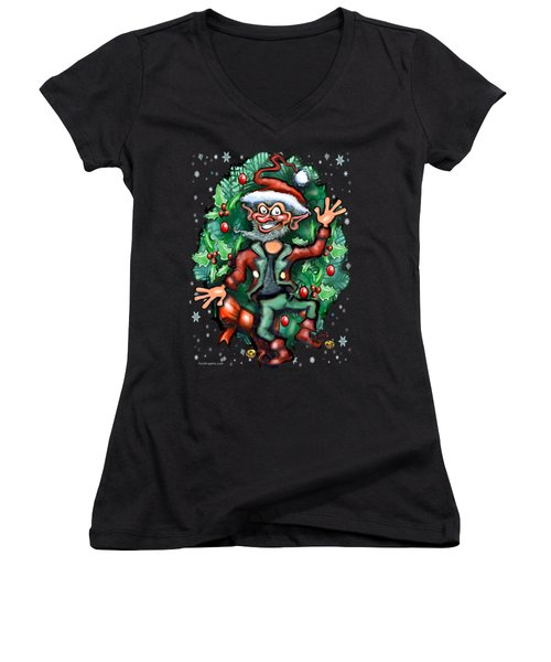 Christmas Elf Women's V-Neck T-Shirt