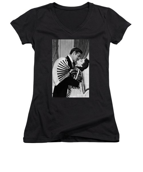 Gone With The Wind, 1939 Women's V-Neck T-Shirt (Junior Cut) by Granger