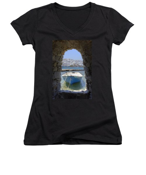Paros - Cyclades - Greece Women's V-Neck (Athletic Fit)