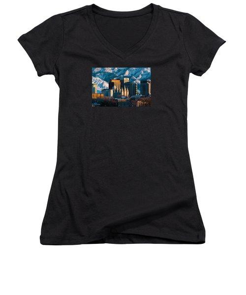 Salt Lake City Utah Usa Women's V-Neck T-Shirt (Junior Cut) by Utah Images