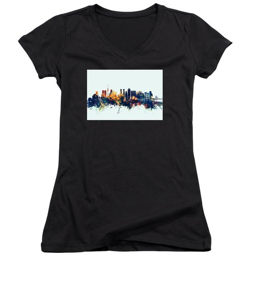 Tokyo Japan Skyline Women's V-Neck T-Shirt (Junior Cut) by Michael Tompsett