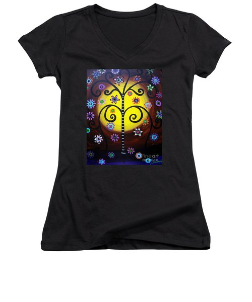 Women's V-Neck T-Shirt (Junior Cut) featuring the painting Tree Of Life by Pristine Cartera Turkus