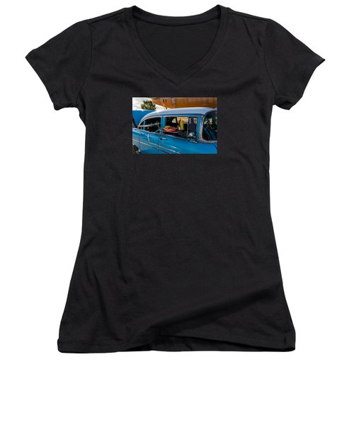 56 Chevy Women's V-Neck T-Shirt (Junior Cut) by Jay Stockhaus
