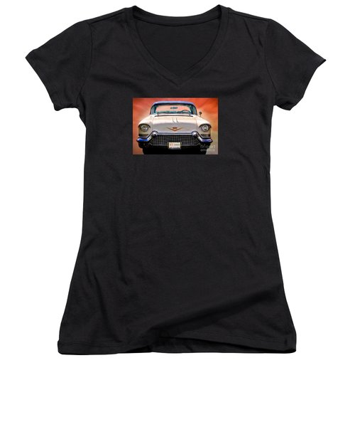 57 Caddy Women's V-Neck T-Shirt (Junior Cut) by Suzanne Handel