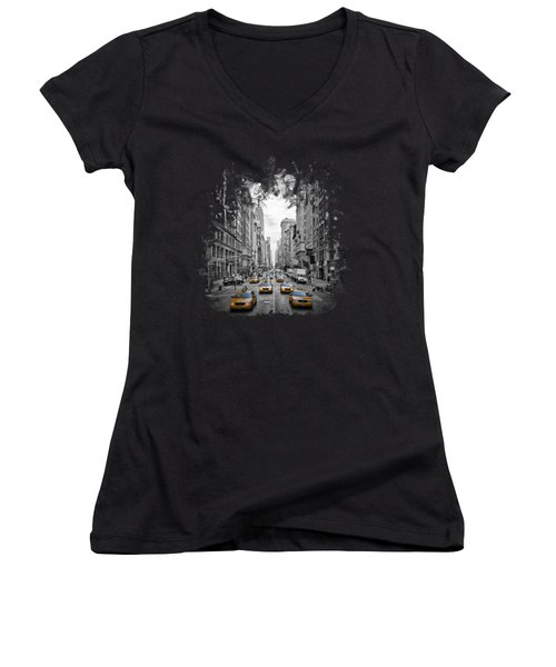 5th Avenue Nyc Traffic II Women's V-Neck (Athletic Fit)