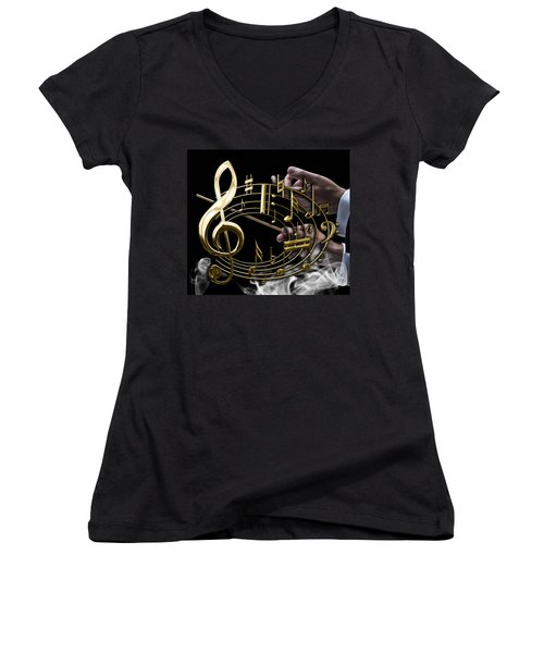 Musical Collection Women's V-Neck T-Shirt (Junior Cut) by Marvin Blaine