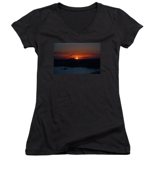 Women's V-Neck T-Shirt (Junior Cut) featuring the photograph 6- Sunset by Joseph Keane