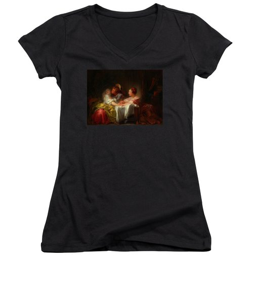 Women's V-Neck T-Shirt (Junior Cut) featuring the painting The Stolen Kiss by Jean-Honore Fragonard
