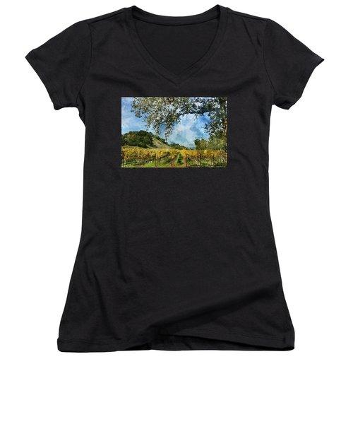 Vineyard In Napa Valley California Women's V-Neck