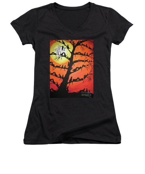 60 Cats In The Love Tree Women's V-Neck T-Shirt (Junior Cut) by Jeffrey Koss