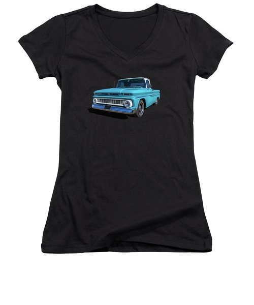 60s Pickup Women's V-Neck T-Shirt (Junior Cut) by Keith Hawley