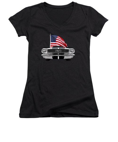 66 Mustang With U.s. Flag On Black Women's V-Neck T-Shirt (Junior Cut) by Gill Billington