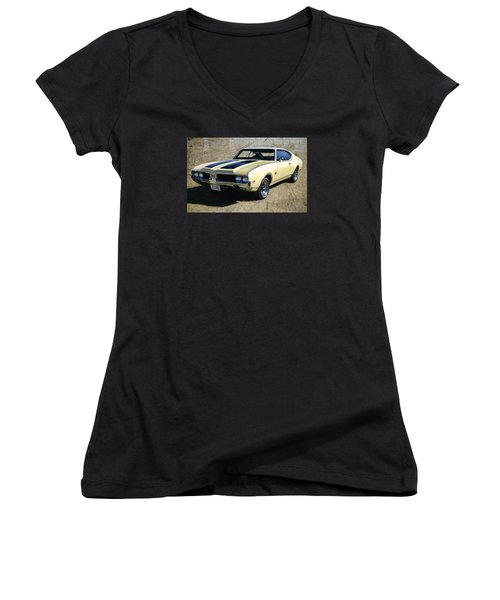 Women's V-Neck T-Shirt (Junior Cut) featuring the photograph '69 Oldsmobile 442 by Victor Montgomery
