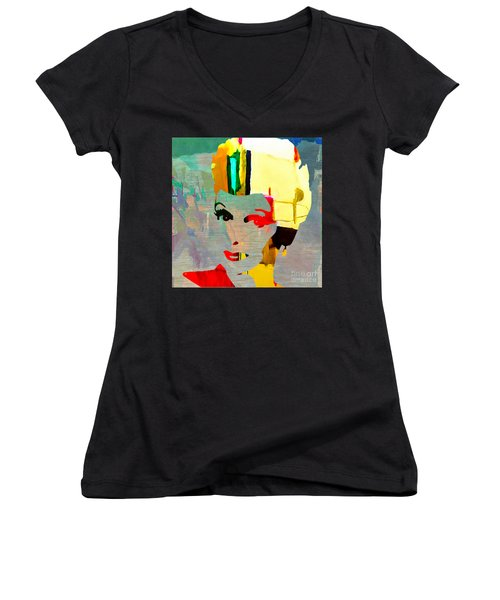 Women's V-Neck T-Shirt (Junior Cut) featuring the mixed media Lucille Ball by Marvin Blaine