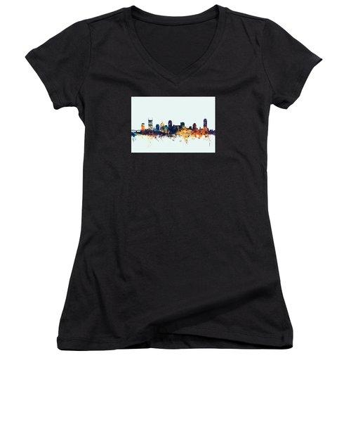 Nashville Tennessee Skyline Women's V-Neck T-Shirt