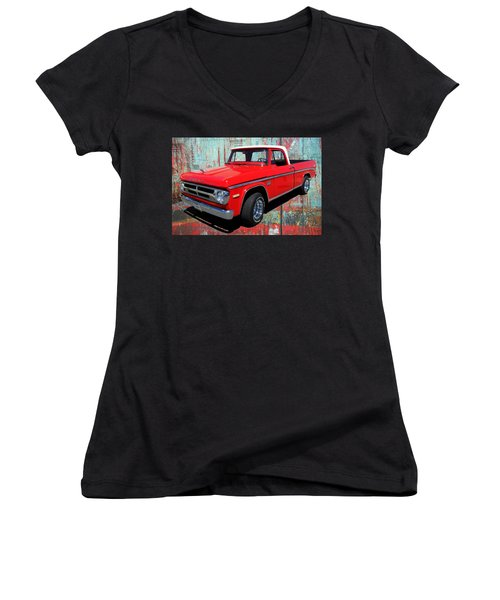 Women's V-Neck T-Shirt (Junior Cut) featuring the photograph '70 Dodge Truck by Victor Montgomery
