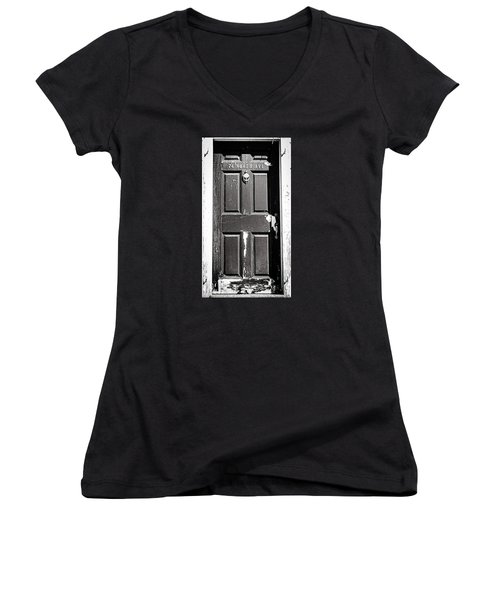 Women's V-Neck T-Shirt (Junior Cut) featuring the photograph 74 North Ave. by Bruce Carpenter