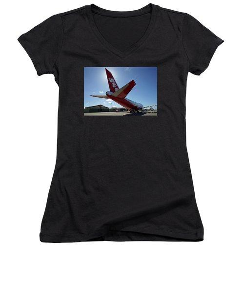 Women's V-Neck featuring the photograph 747 Supertanker At Mcclellan by Bill Gabbert