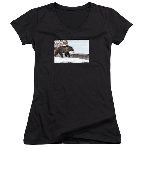 Women's V-Neck T-Shirt (Junior Cut) featuring the photograph #760 At The River In Early Spring by Yeates Photography