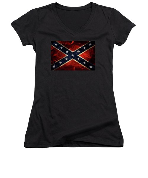 Confederate Flag Women's V-Neck T-Shirt (Junior Cut) by Les Cunliffe