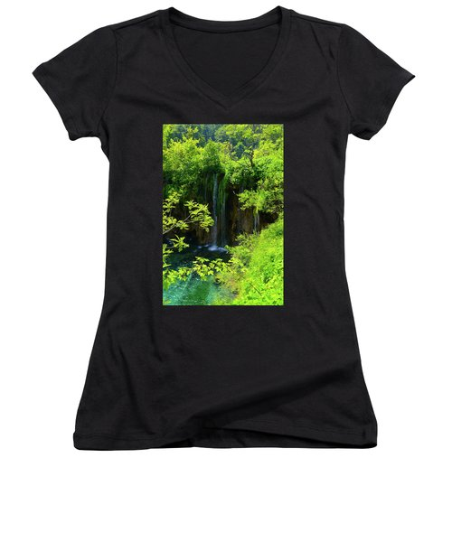 Waterfall In Plitvice National Park In Croatia Women's V-Neck