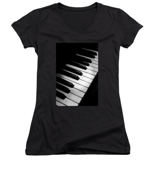 Women's V-Neck T-Shirt (Junior Cut) featuring the photograph 88 Keys To The Heart by Aaron Berg