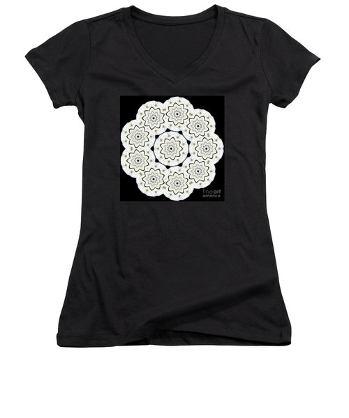 9-pointed Orchid Star Women's V-Neck (Athletic Fit)