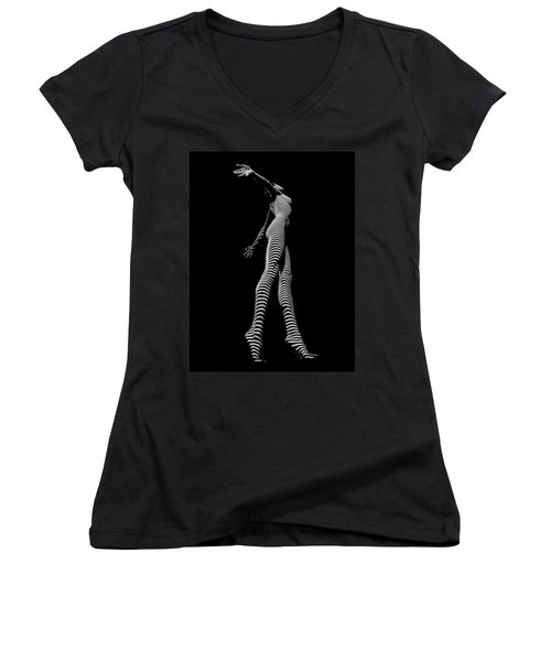 9825-dja Black And White Zebra Striped Woman Unique Perspective Fine Art Photograph By Chris Maher Women's V-Neck T-Shirt (Junior Cut) by Chris Maher