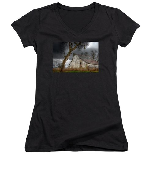 A Barn In The Storm 2 Women's V-Neck T-Shirt (Junior Cut) by Karen McKenzie McAdoo