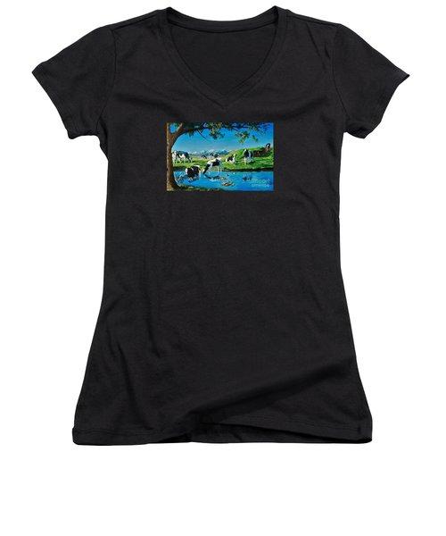 A Black And White Field Women's V-Neck T-Shirt (Junior Cut) by Ruanna Sion Shadd a'Dann'l Yoder